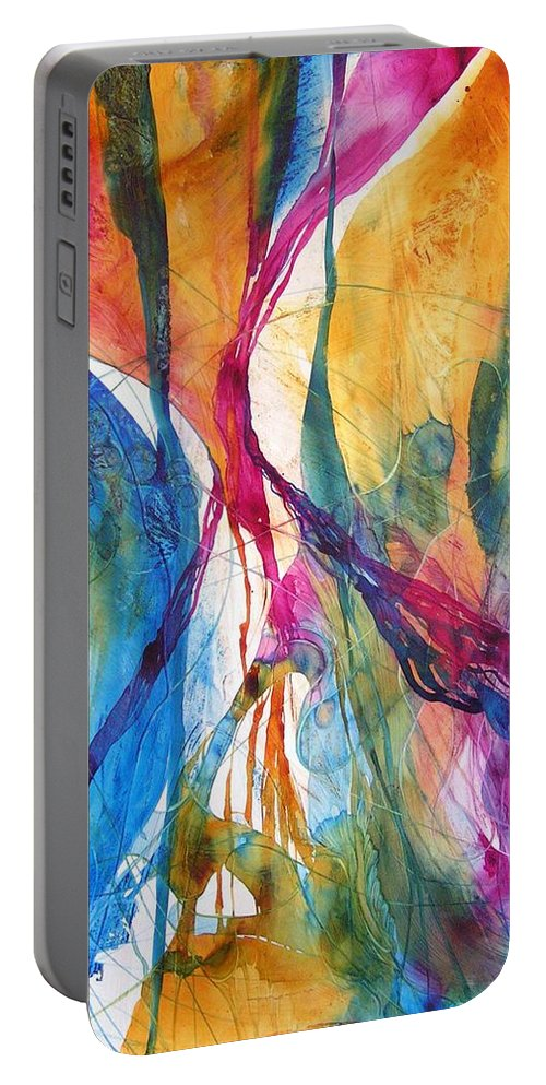 Mulicolored Portable Battery Charger featuring the painting Canyon Sunrise by Annika Farmer