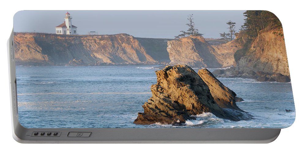 Lighthouse Portable Battery Charger featuring the photograph Cape Arago Lighthouse by Betty LaRue