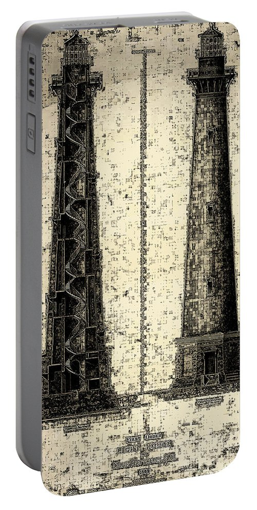 Cape Hatteras Portable Battery Charger featuring the drawing Cape Hatteras Art by Jerry McElroy