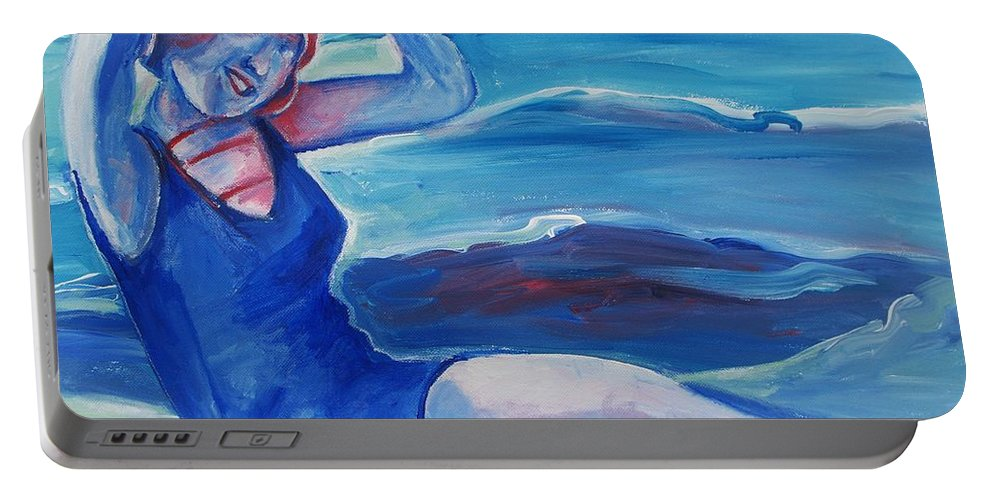 Beach Portable Battery Charger featuring the painting Cape May 1920s Girl by Eric Schiabor