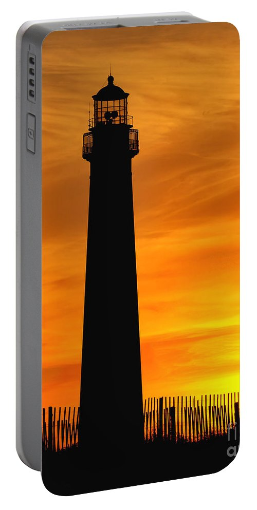 Architecture Portable Battery Charger featuring the photograph Cape May Light Sunset by Nick Zelinsky