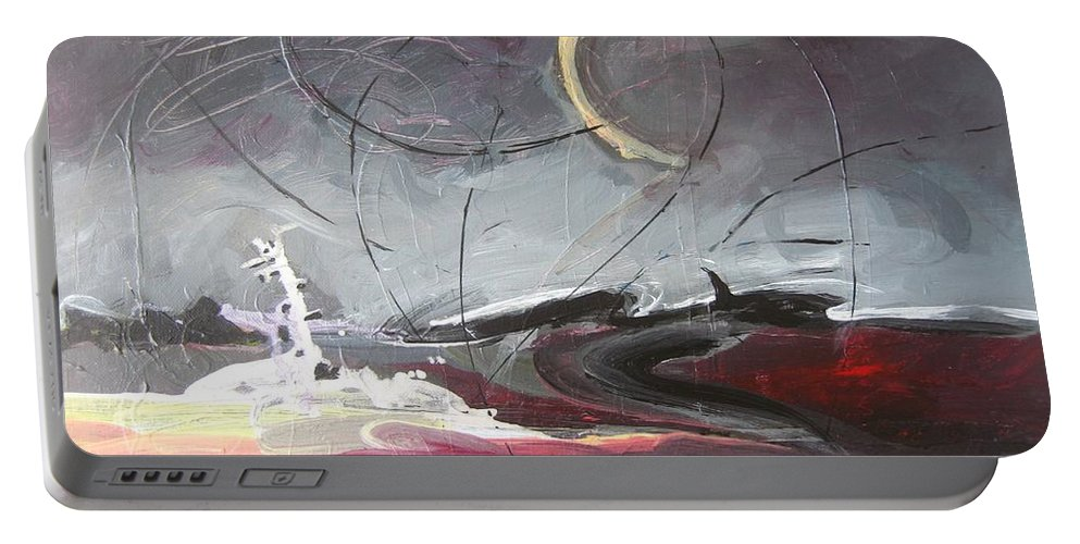 Abstract Paintings Portable Battery Charger featuring the painting Cape St. Mary by Seon-Jeong Kim