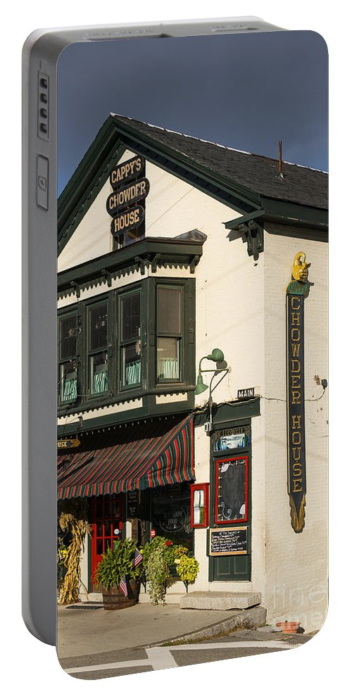 Camden Maine Chowder House Restaurant Restaurants Window Windows Door Doors Building Buildings Sign Signs Architecture Structures Eatery Eateries City Cities Cityscape Cityscapes Cappy's Chowder House Portable Battery Charger featuring the photograph Capppy's Chowder House by Bob Phillips