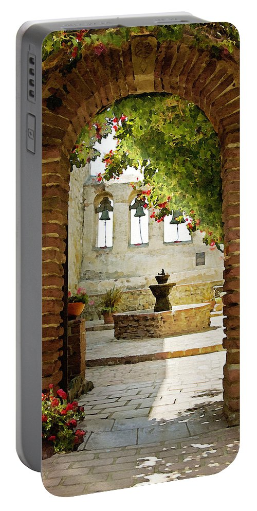 Architecture Portable Battery Charger featuring the photograph Capistrano Gate by Sharon Foster