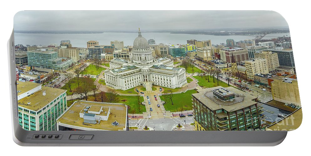 Madison Portable Battery Charger featuring the photograph Capital Panoramic by Randy Kostichka