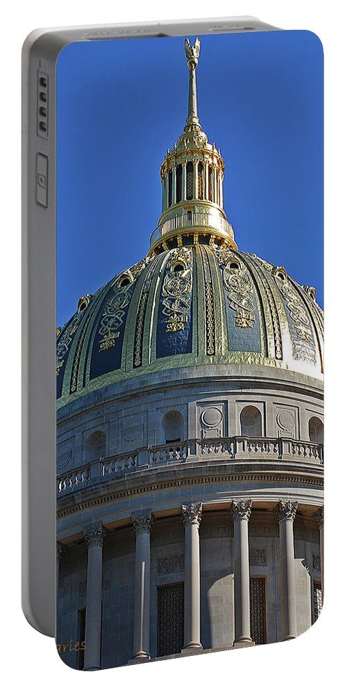 State Capitol Portable Battery Charger featuring the digital art Capitol Dome Charleston Wv by DigiArt Diaries by Vicky B Fuller