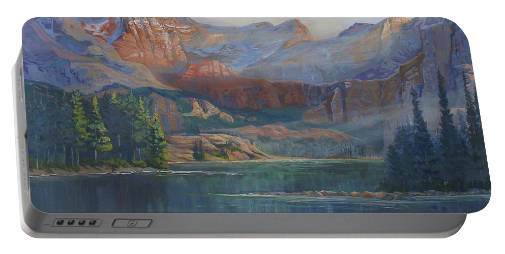 Capital Peak Portable Battery Charger featuring the painting Capitol Peak Rocky Mountains by Heather Coen