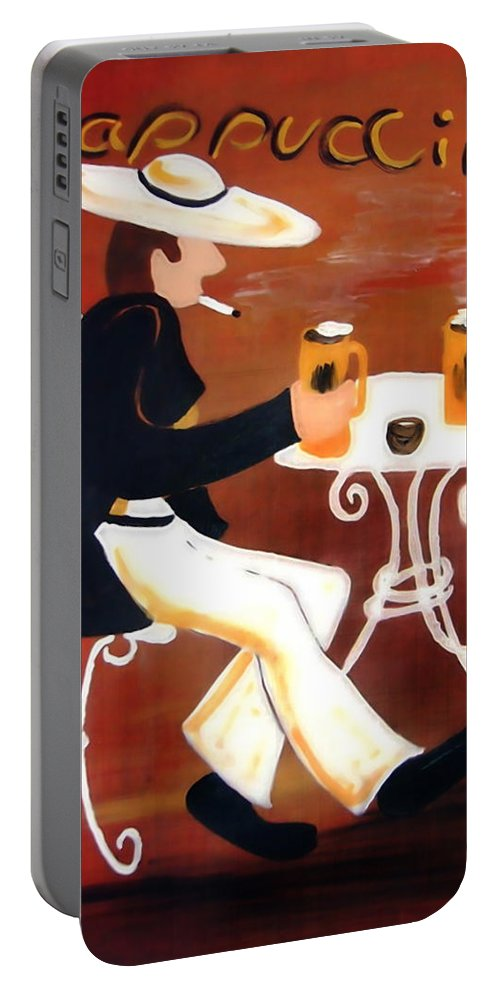 Cappuccino Portable Battery Charger featuring the painting Cappuccino by Helmut Rottler