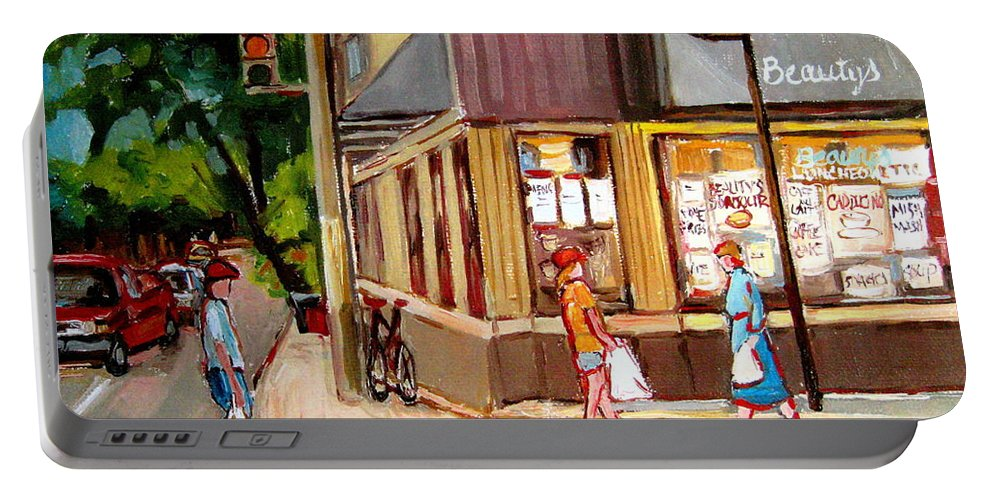 Cafes Portable Battery Charger featuring the painting Cappucino Cafe At Beauty's Restaurant by Carole Spandau