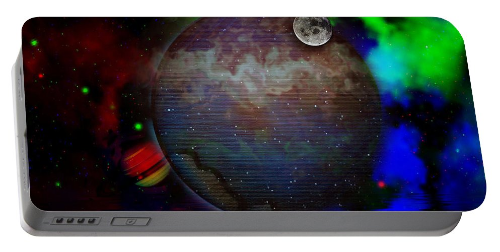 Space Portable Battery Charger featuring the digital art Caprica Over The Waters by Mario Carini