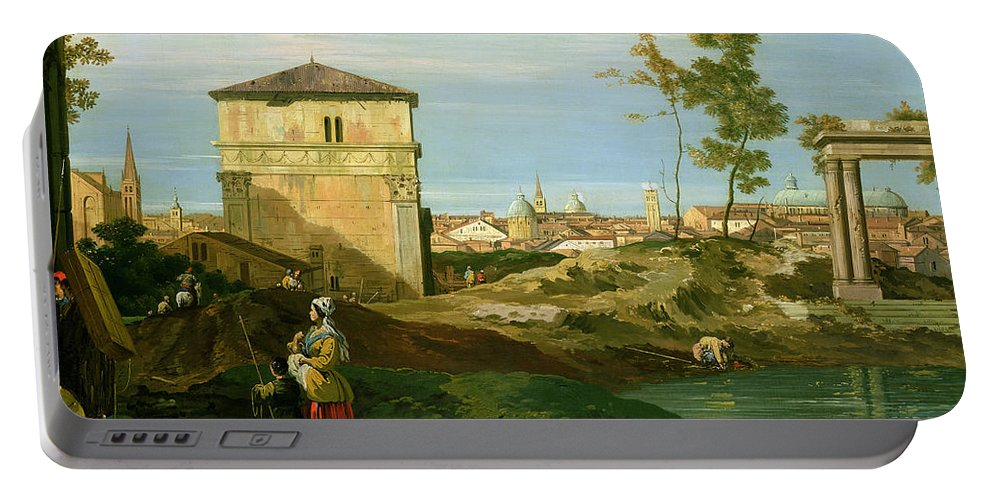 Canaletto Portable Battery Charger featuring the painting Capriccio With Motifs From Padua by Canaletto
