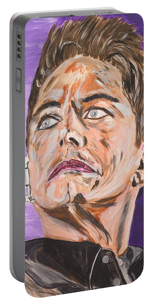 Torchwood Portable Battery Charger featuring the painting Captain Jack Harkness by Valerie Ornstein