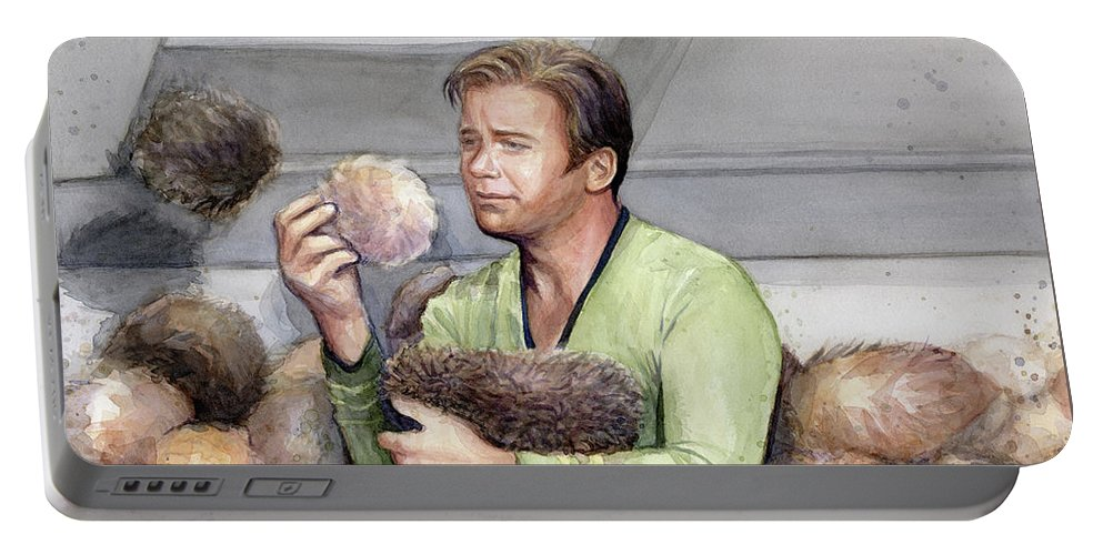 Star Trek Portable Battery Charger featuring the painting Captain Kirk And Tribbles by Olga Shvartsur