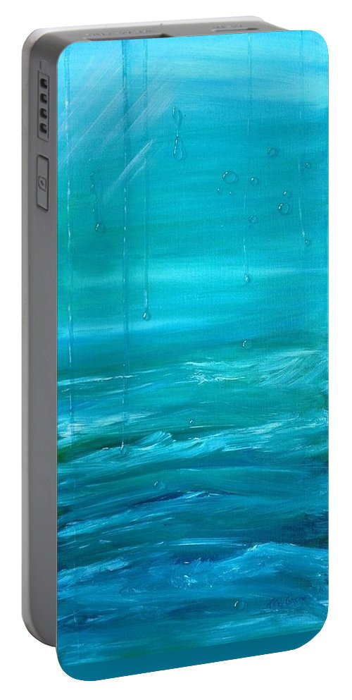 Ocean Portable Battery Charger featuring the painting Captain's View by T Fry-Green