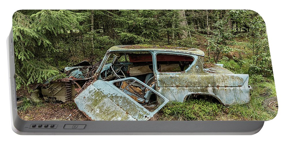 Bil Portable Battery Charger featuring the photograph Car Graveyard In Smaland by Antony McAulay