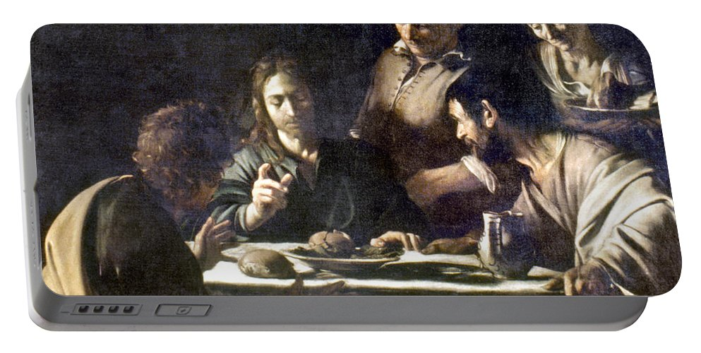 16th Century Portable Battery Charger featuring the painting Caravaggio: Emmaus by Granger