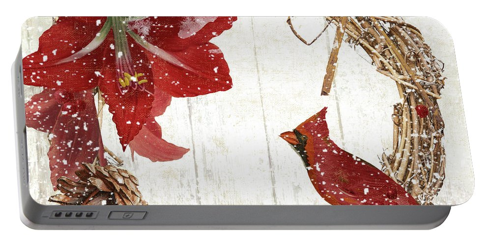 Cardinal Portable Battery Charger featuring the painting Cardinal Holiday II by Mindy Sommers