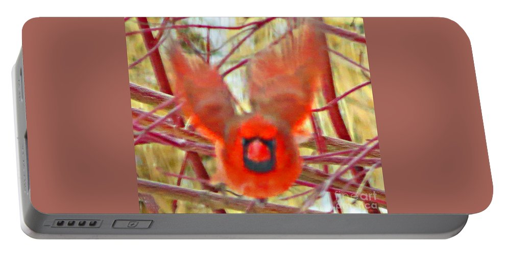 Abstract Portable Battery Charger featuring the photograph Cardinal In Flight Abstract by Stephanie Forrer-Harbridge