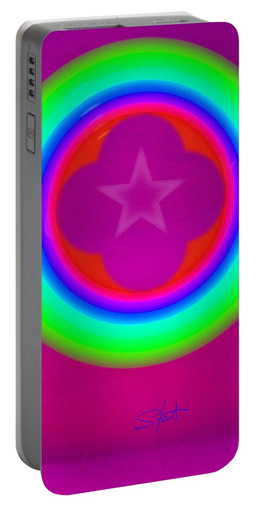 Abstract Portable Battery Charger featuring the painting Cardinal See by Charles Stuart