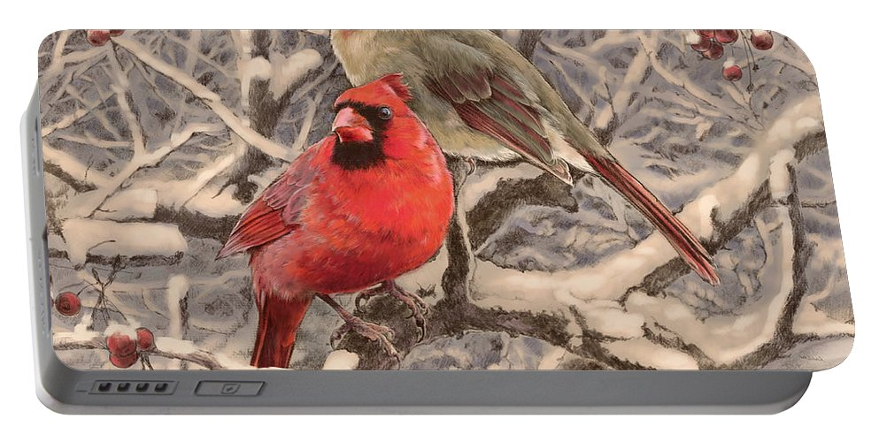 Cardinals Portable Battery Charger featuring the drawing Cardinals by Laurie Musser
