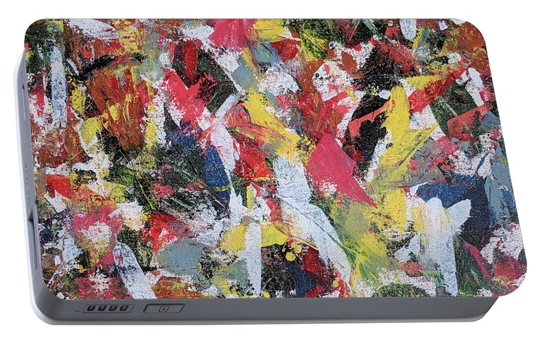 Abstract Portable Battery Charger featuring the painting Cardinals by Trisha Pena