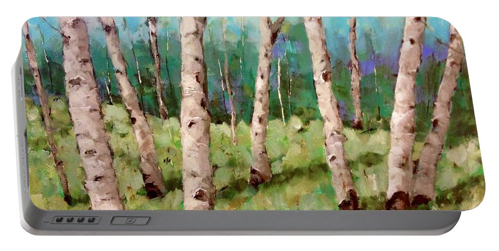 Birch Portable Battery Charger featuring the painting Carefree Birches by Beth Capogrossi