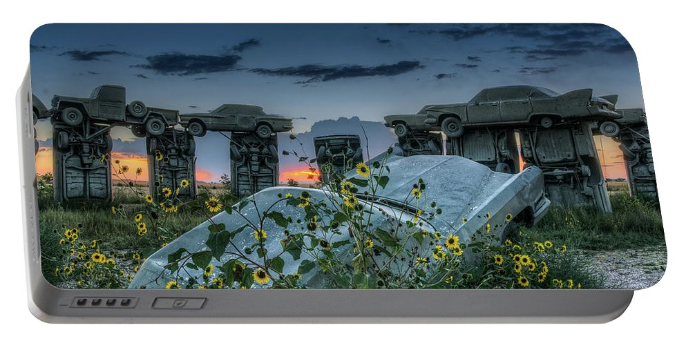 Alliance Portable Battery Charger featuring the photograph Carhenge, Alter Stone by John Strong