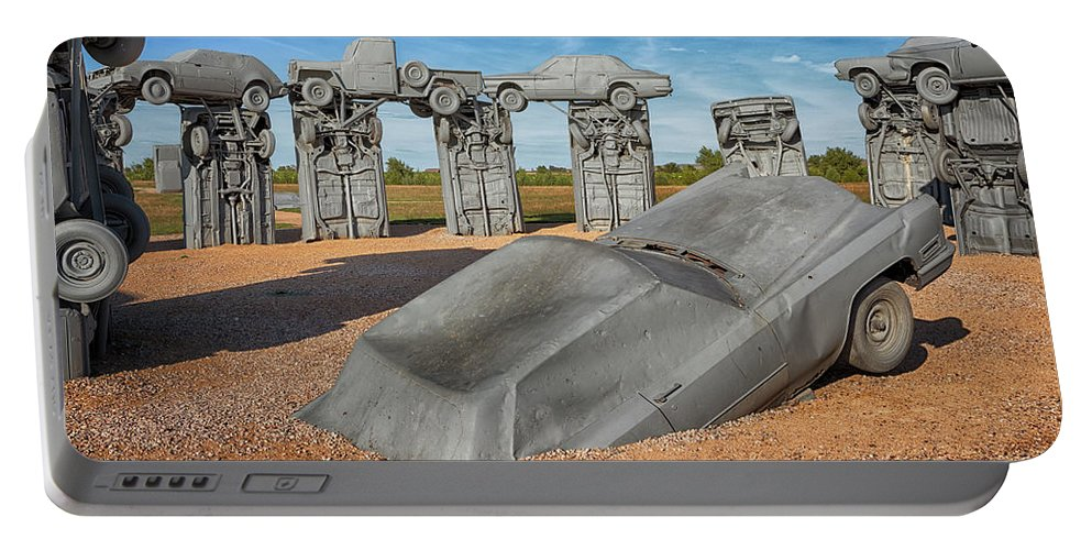 Carhenge Portable Battery Charger featuring the photograph Carhenge by Susan Rissi Tregoning