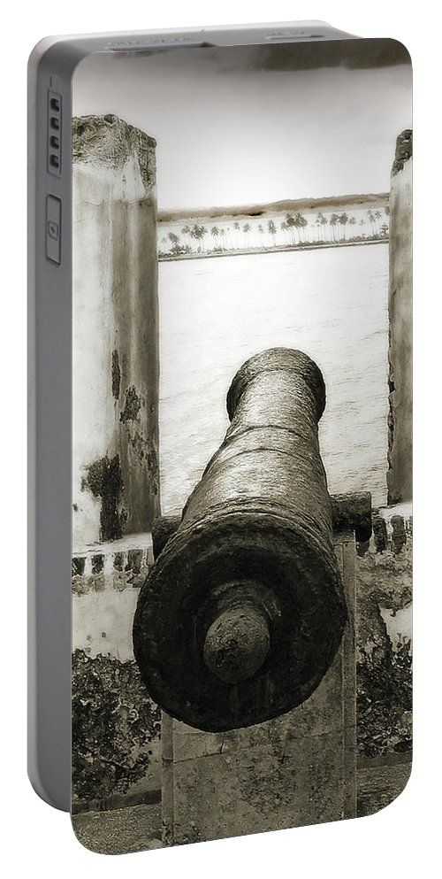 Cannon Portable Battery Charger featuring the photograph Caribbean Cannon by Steven Sparks