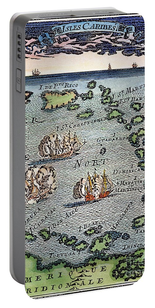 1688 Portable Battery Charger featuring the photograph Caribbean Map by Granger