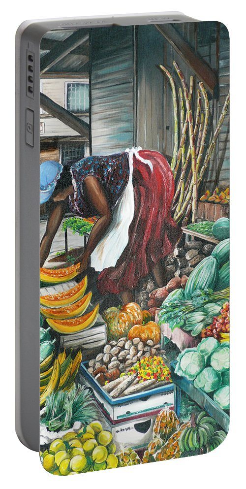 Caribbean Painting Market Vendor Painting Caribbean Market Painting Fruit Painting Vegetable Painting Woman Painting Tropical Painting City Scape Trinidad And Tobago Painting Typical Roadside Market Vendor In Trinidad Portable Battery Charger featuring the painting Caribbean Market Day by Karin Dawn Kelshall- Best
