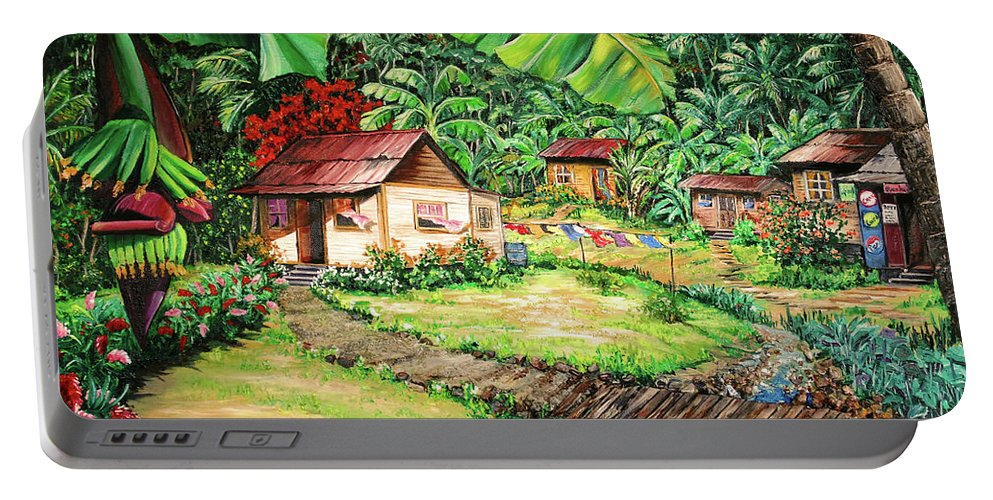 Tropical Portable Battery Charger featuring the painting Caribbean Village Life by Karin Dawn Kelshall- Best