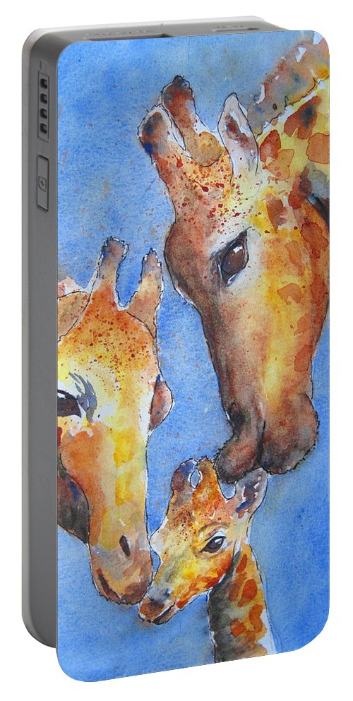 Giraffes Portable Battery Charger featuring the painting Caring Hearts by Corynne Hilbert