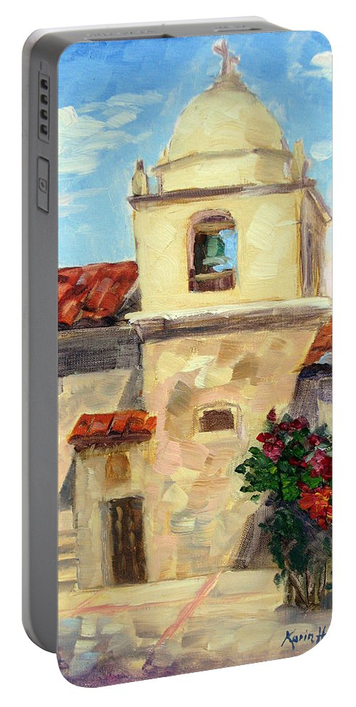 Carmel Portable Battery Charger featuring the painting Carmel Mission, Summer by Karin Leonard