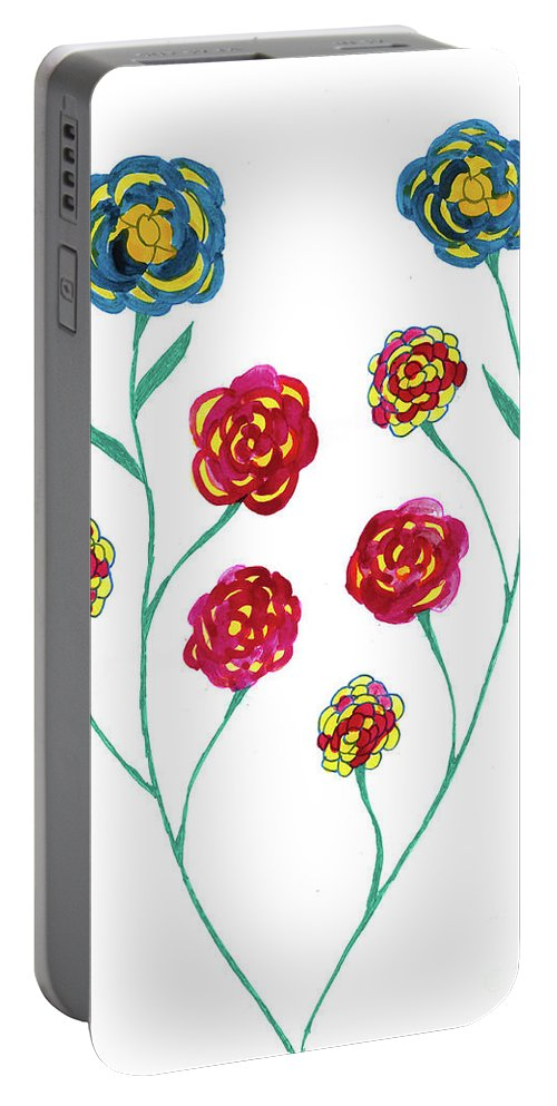 Blue Portable Battery Charger featuring the mixed media Carnations by Mary Mikawoz