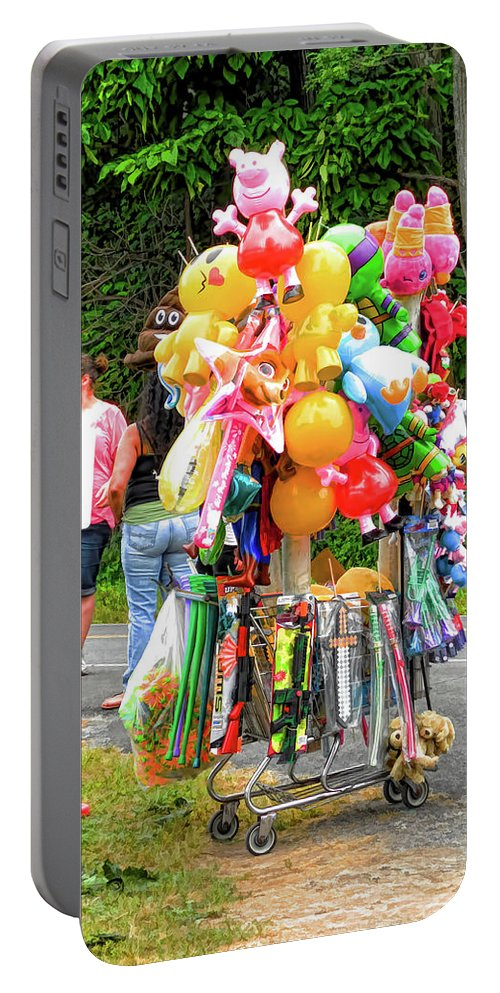Carnival Vendor Portable Battery Charger featuring the painting Carnival Vendor 3 by Jeelan Clark
