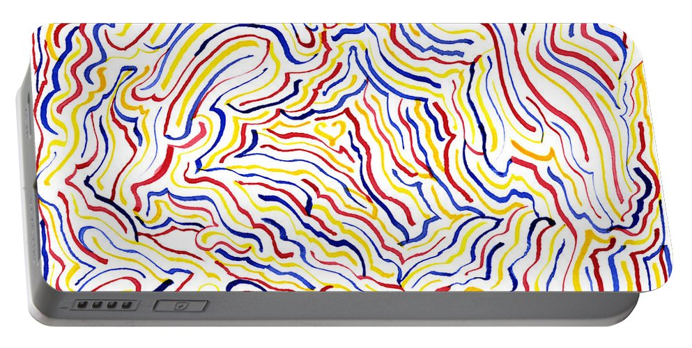 Mazes Portable Battery Charger featuring the drawing Carnivale by Steven Natanson