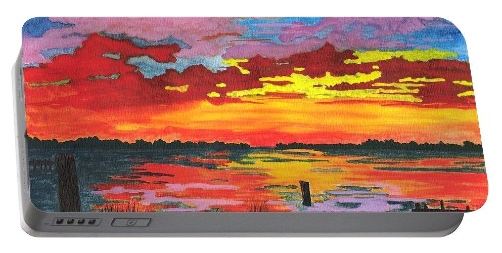 Original Painting Portable Battery Charger featuring the painting Carolina Sunset by Patricia Griffin Brett