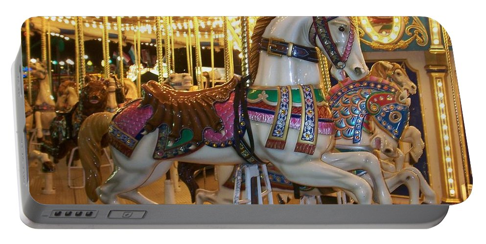 Carosel Horse Portable Battery Charger featuring the photograph Carosel Horse by Anita Burgermeister
