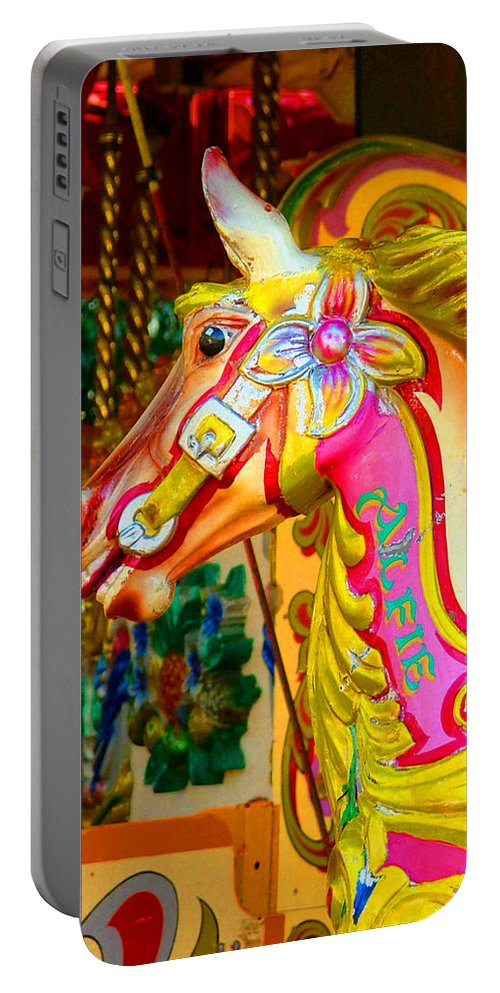 Alfie Portable Battery Charger featuring the photograph Carousel Horse London Alfie England by Heather Lennox