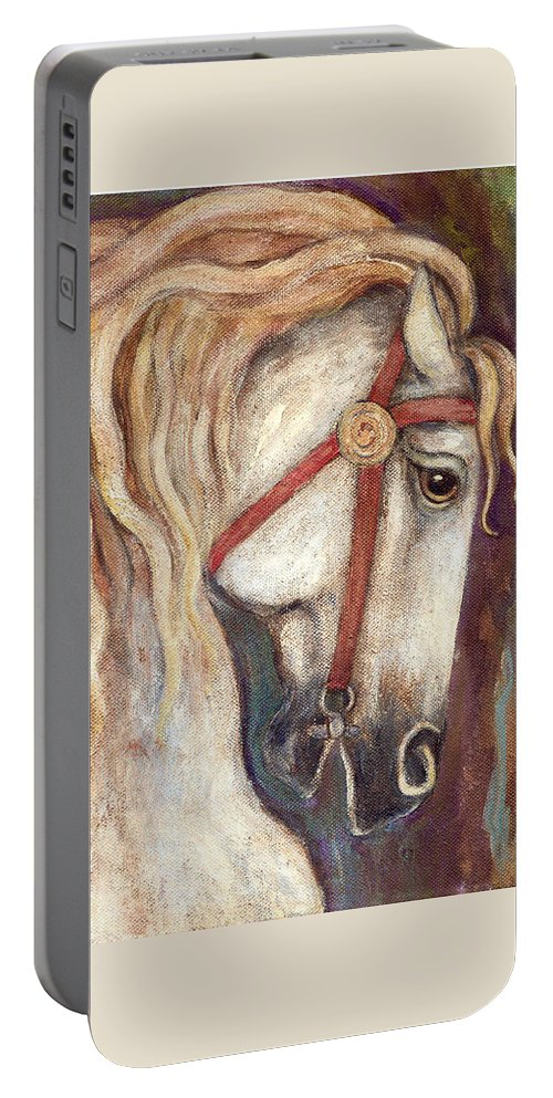 Horse Painting Portable Battery Charger featuring the painting Carousel Horse Painting by Frances Gillotti