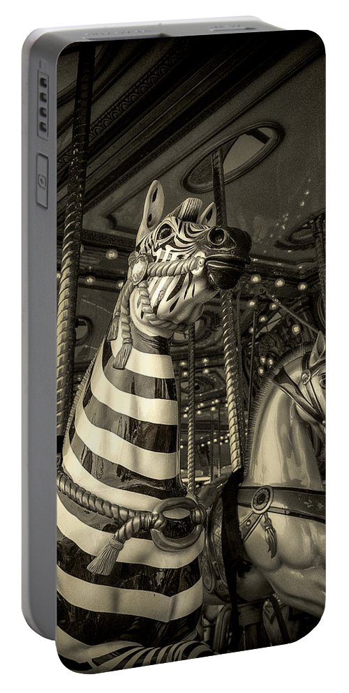 Carousel Portable Battery Charger featuring the photograph Carousel Zebra by Caitlyn Grasso