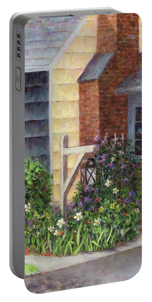 House Portable Battery Charger featuring the painting Carriage Lamp by Susan Savad