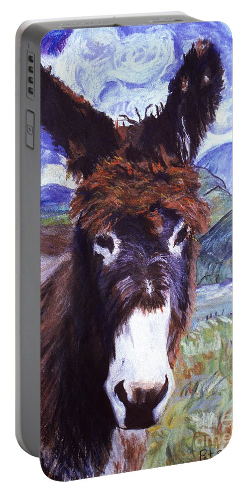 Pat Saunders-white Paintings Portable Battery Charger featuring the mixed media Carrot Top by Pat Saunders-White