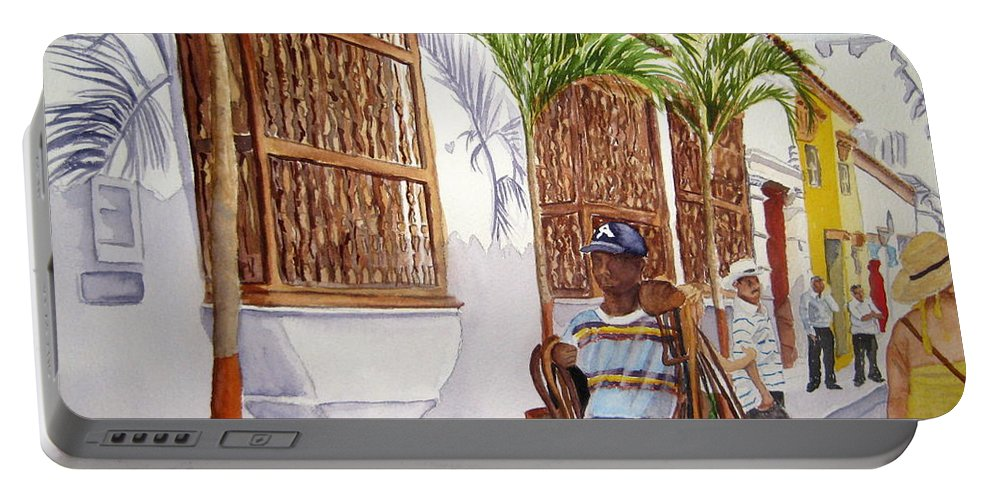 Landscape Portable Battery Charger featuring the painting Cartagena Peddler I by Julia RIETZ