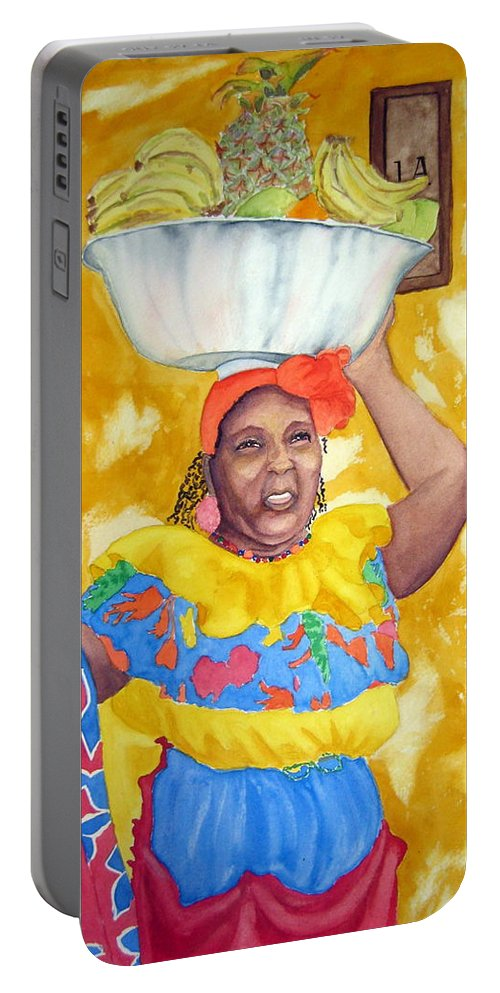 Cartagena Portable Battery Charger featuring the painting Cartagena Peddler II by Julia RIETZ