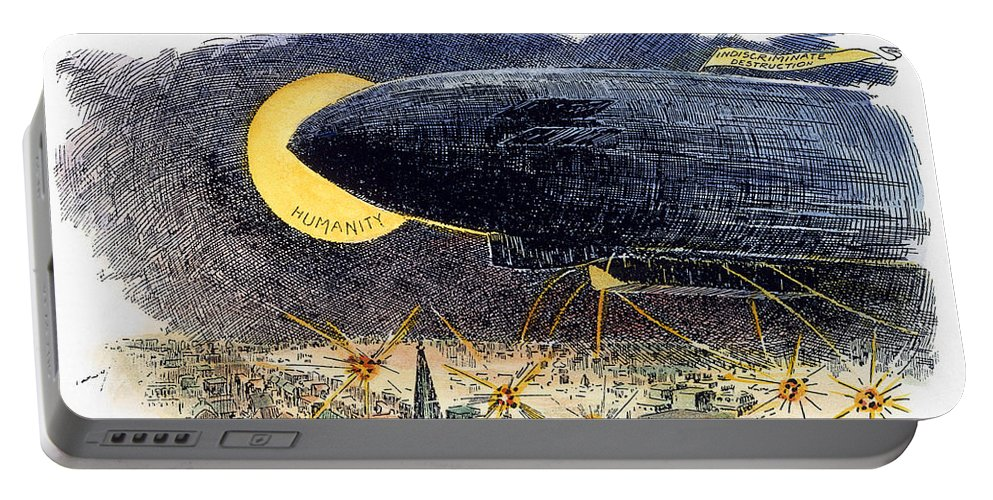 1914 Portable Battery Charger featuring the photograph Cartoon: Airship Raid 1914 by Granger