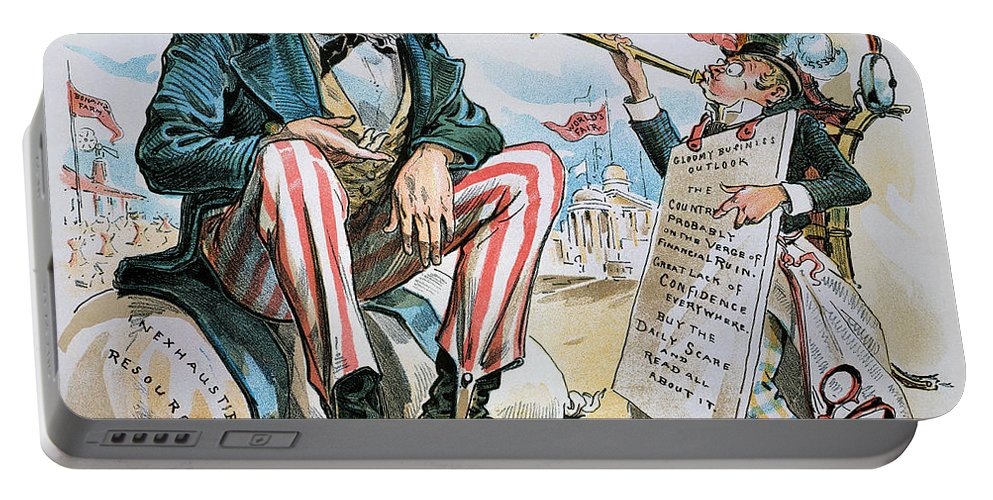 1893 Portable Battery Charger featuring the photograph Cartoon: Uncle Sam, 1893 by Granger