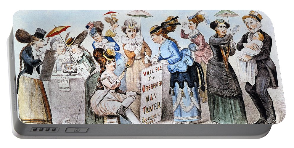 1869 Portable Battery Charger featuring the photograph Cartoon: Womens Rights by Granger