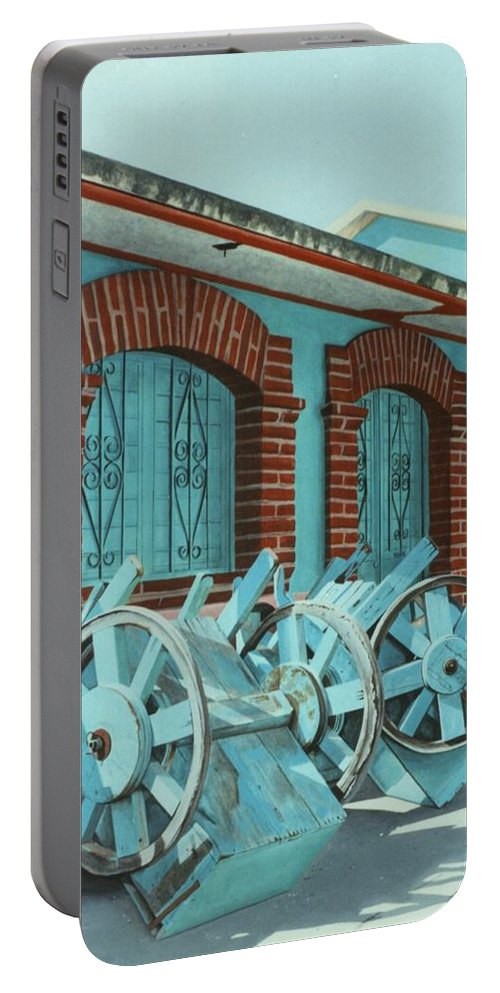 Hyperrealism Portable Battery Charger featuring the painting Carts And Door by Michael Earney